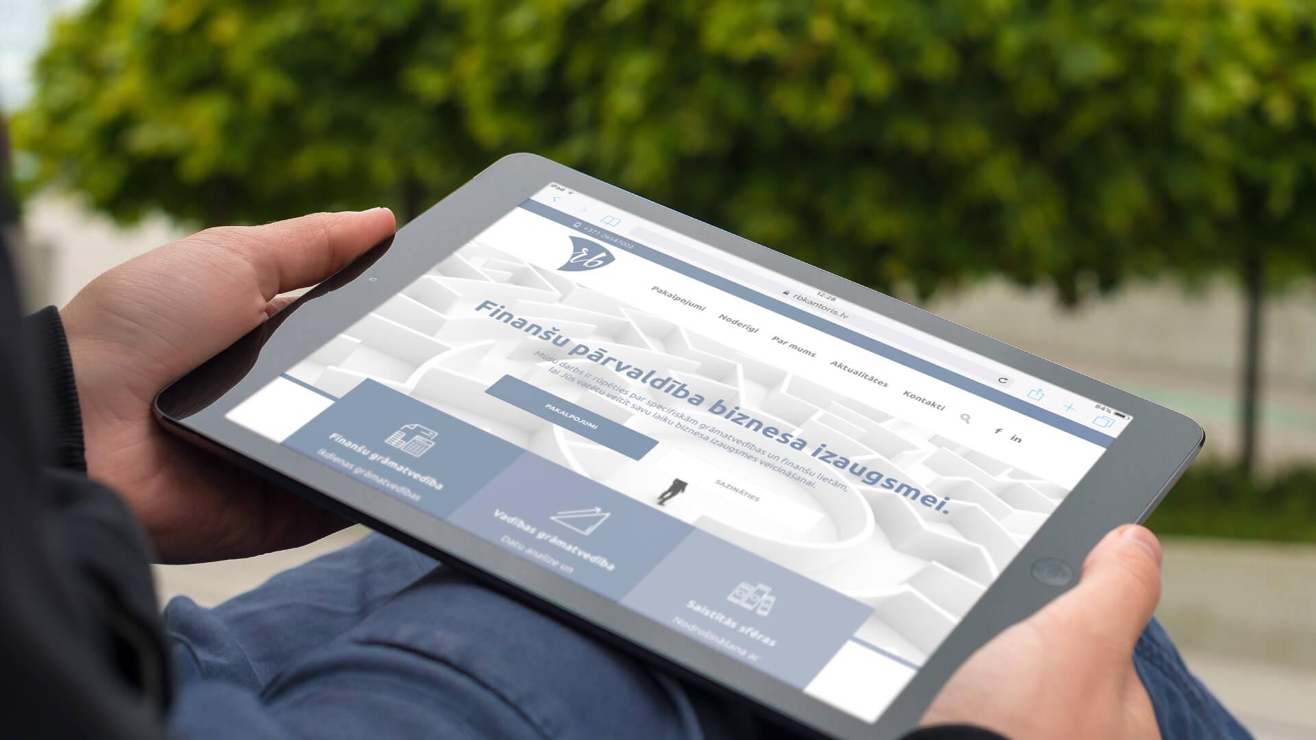 RB Kantoris - mājas lapa iPad