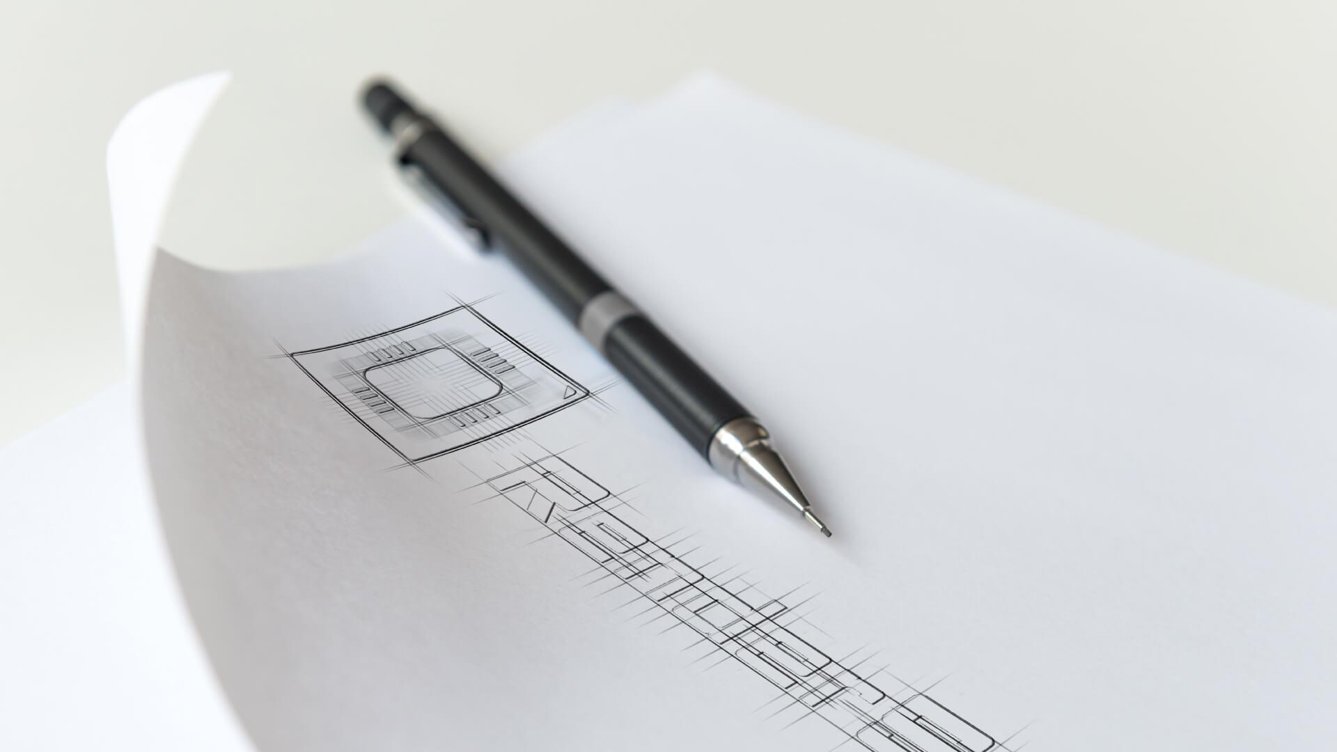 Render Spell - logo skice
