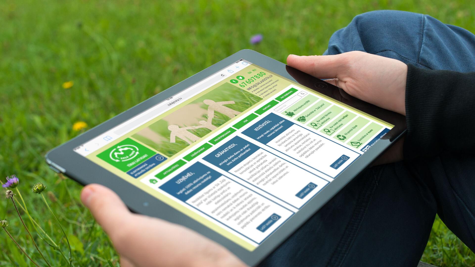 Zaļā Josta - mājas lapa iPad