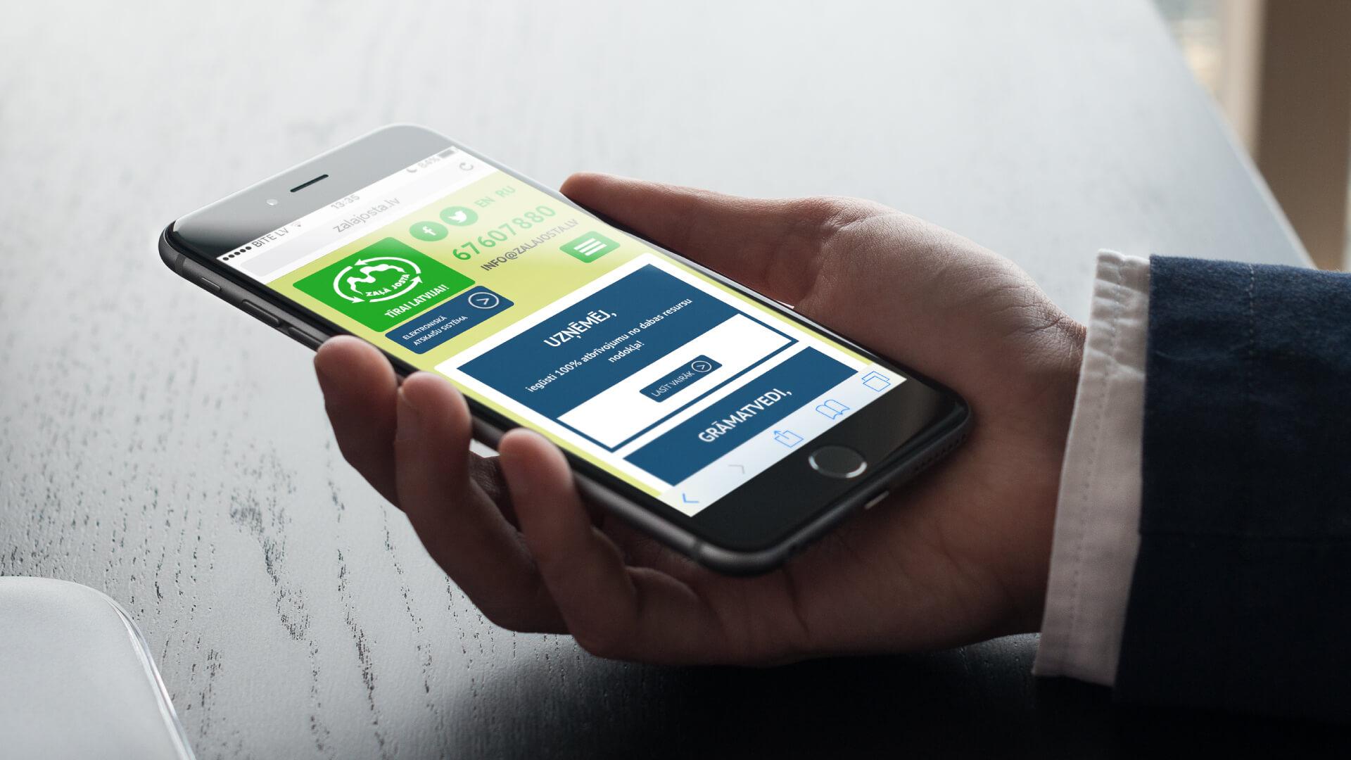 Zaļā Josta - mājas lapa iPhone